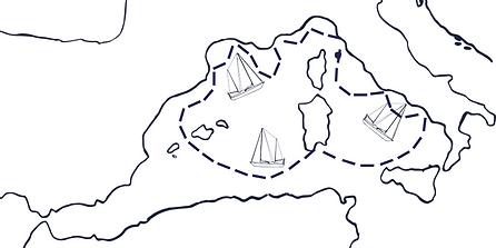 Carte imagée de la trajectoire d'un voyage à la voile en Méditérranée
