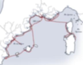 Cart de la trajectoire de l'expédition à la voile de l'association SEA Plastics 2020 en Méditerranée ocidentale