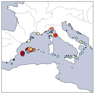 Carte de la pollution microplastique en Méditerranée occidentale