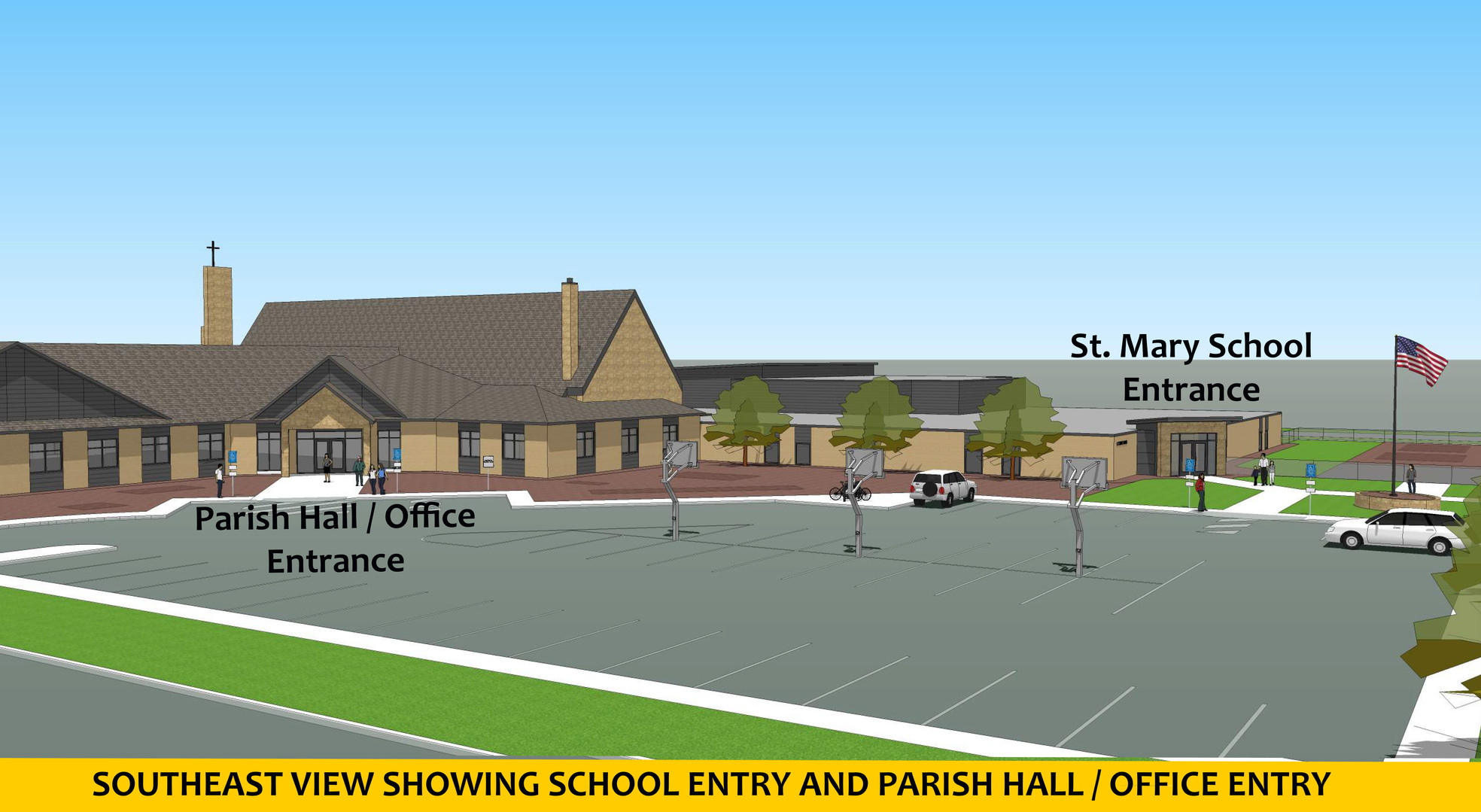SOUTHEAST VIEW SHOWING SCHOOL ENTRY AND
