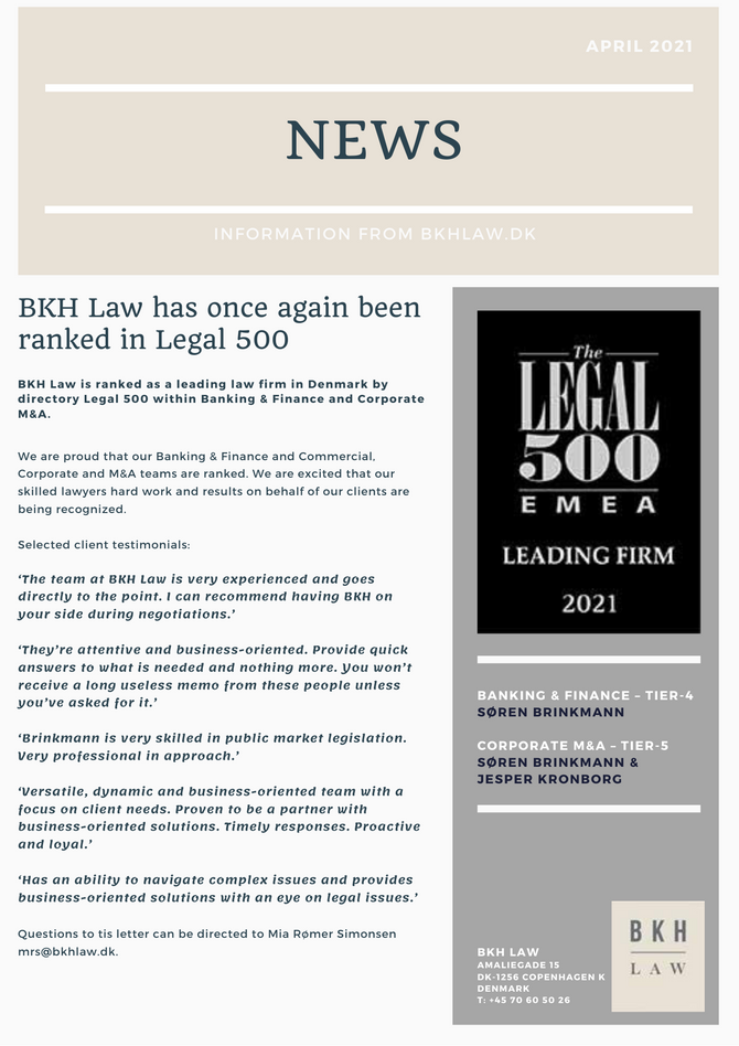 BKH Law ranked in Legal 500