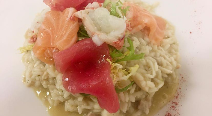Seafood Risotto topped with Crudo