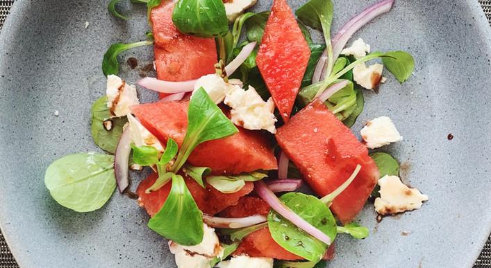 Watermelon, Feta & Mache Salad