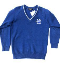 Virgo Fidelis Blue Knitted Jumper