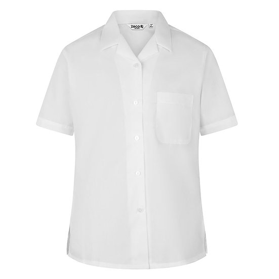 Short Sleeve, Non Iron Revere Collar Blouse - Twin Pack