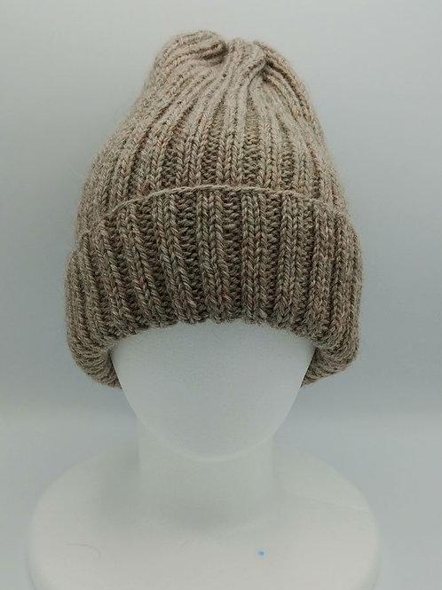 手編みワッチキャップ(ウール100%)