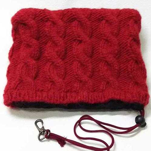 手編みアラン模様ヘッドカバー レッド