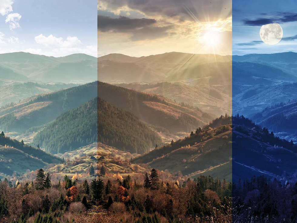 Mountainscape scene with sunset. Image is a triptique showing morning, noon and evening light.