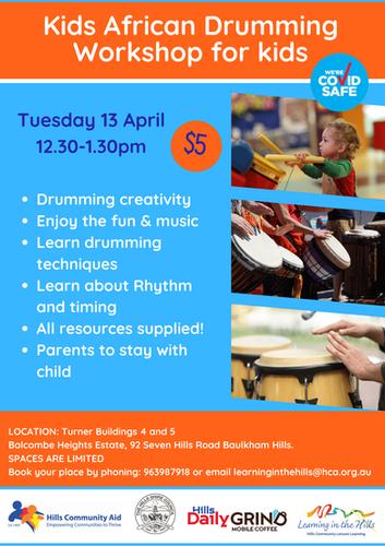 13.4 African Drumming Workshop for kids.