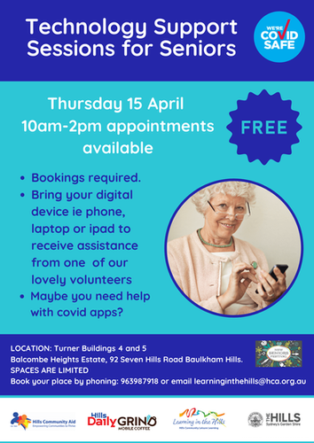Technology support sessions for Seniors.