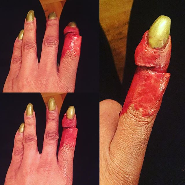 #first #attempt at the #sliced #finger #sfxmakeup #gore #blood #specialeffectsmakeup #makeupartist #