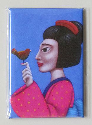 'Geisha and Bird' magnet