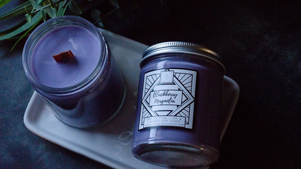 Blackberry Magnolia Wooden Wick Candle