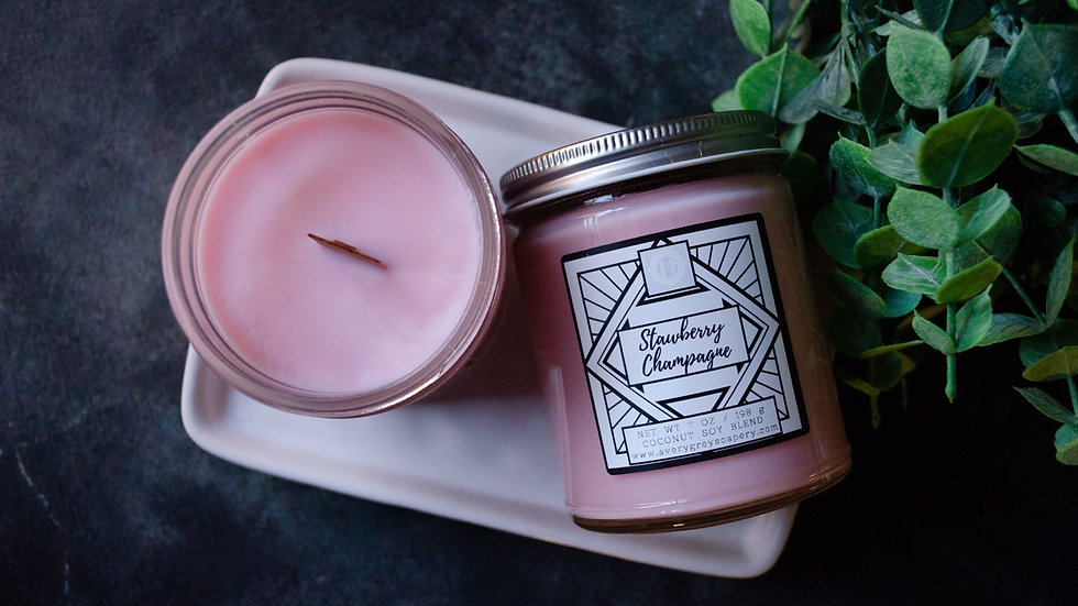 Strawberry Champagne Wooden Wick Candle