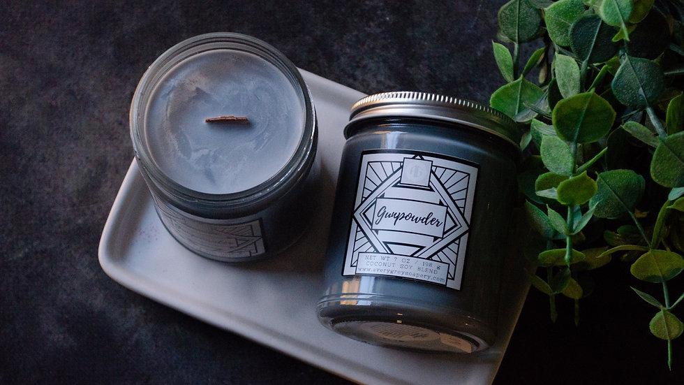 Gunpowder Wooden Wick Candle