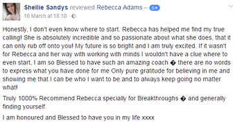 Shellie Sandys testimonial Rebecca Adams