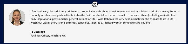Jo Burbidge testimonial Rebecca Adams mi
