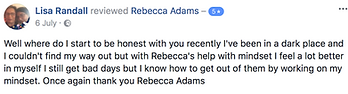 Lisa Randall testimonial Rebecca Adams m
