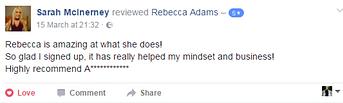 Sarah McInerney testimonial Rebecca Adam