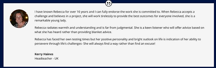 Kerry Haines testimonial Rebecca Adams m