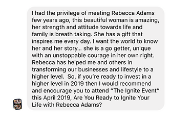 Irene Pro testimonial Rebecca Adams mind