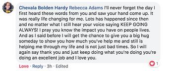 Chevala Hardy testimonial Rebecca Adams