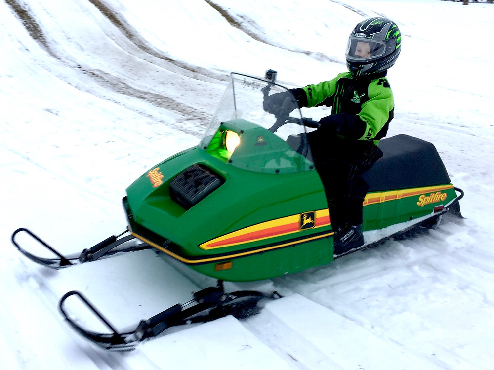 """""""Sparkie"""" the1978 John Deere Spitfire – a machine well suited for children and even adults and rides two people surprisingly comfortably without labouring."""