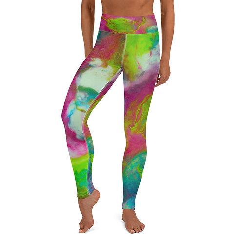Cerise Lime Abstract Yoga Leggings