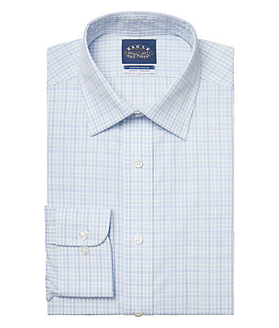 Eagle Slim Fit Non Iron Pinpoint Plaid Spread Collar