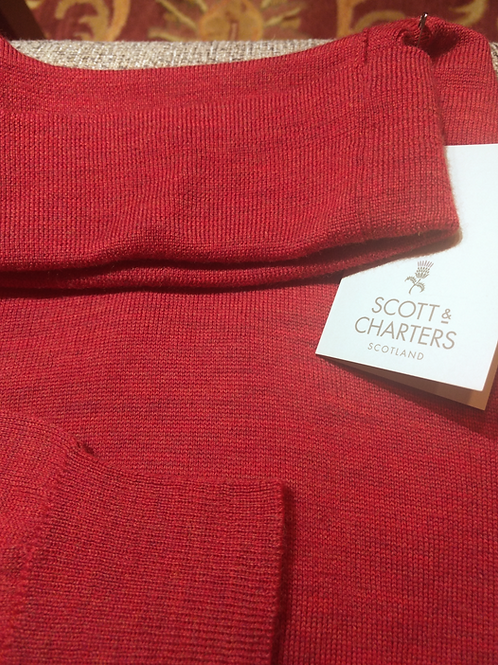 Scott & Charters Turtle Neck Sweater in Brick Red*