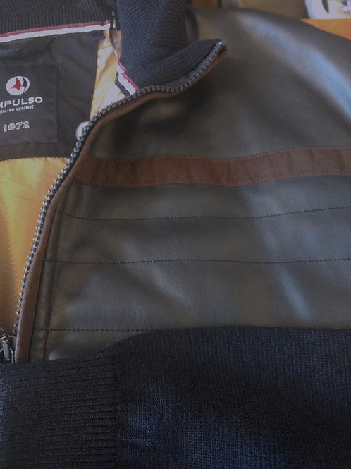 Navy Blue Impulso Leather and Merino Wool Jacket