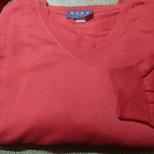 Brick Red V-Neck Pima Cotton  Sweater from Blue