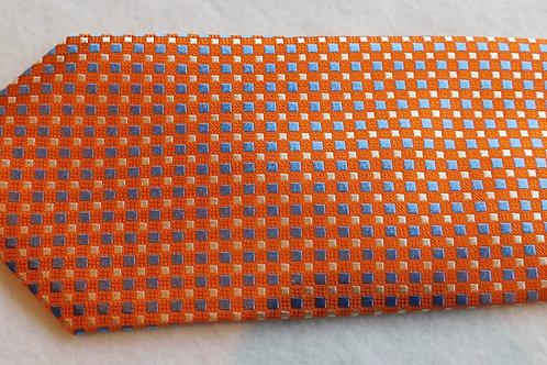 Orange Ground Woven Silk Check