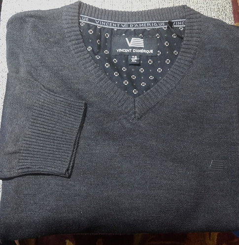 Charcoal Gray V-Neck Sweater From Vincent D'Amerique