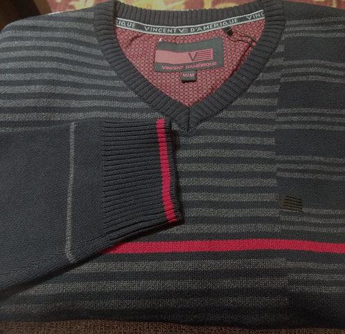 Black /Red Stripe V-Neck Sweater From Vincent D'Amerique
