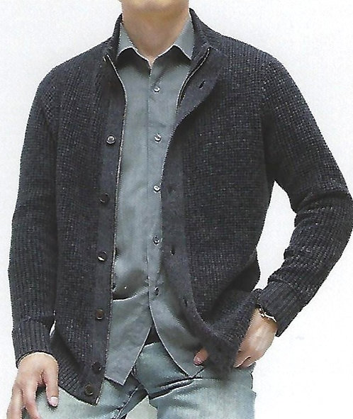 100% Mercerized Merino Wool Heavy Ribbed Full Zip Mock with Button Feture