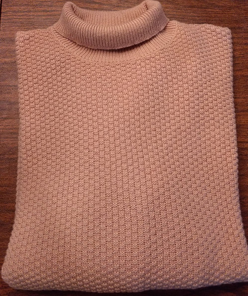 Sojrn Cashmere  High  Mock Turtle Neck Sweater in Tan