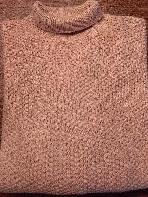 "Sojrn 100% Cashmere  High  Mock Turtle Neck Sweater in Tan ""popcorn stitch"""