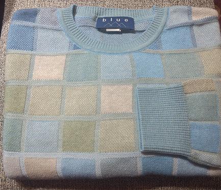 Blue Multi  Check Crew-Neck Pima Cotton  Sweater from Blue*