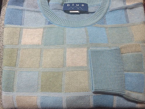 Blue Multi  Check Crew-Neck Pima Cotton  Sweater from Blue*