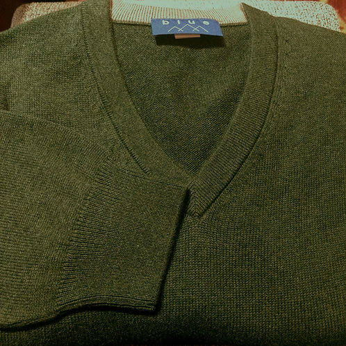 Forest Green V-Neck Pima Cotton  Sweater from Blue*