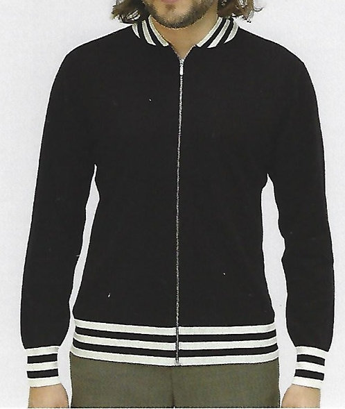 100% Cashmere Full Zip Jacket with Accent Stripe