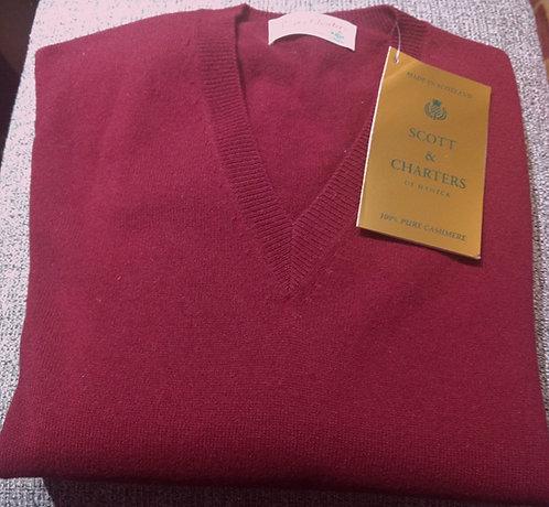 Scott & Charters V-Neck Sweater in Bourgogne*