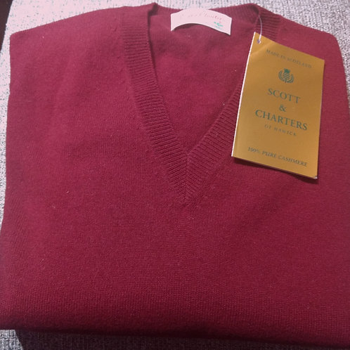 Scott & Charters V-Neck Sweater in Bourgogne*