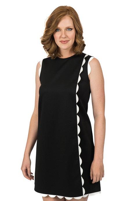 Black scallop front dress 5601