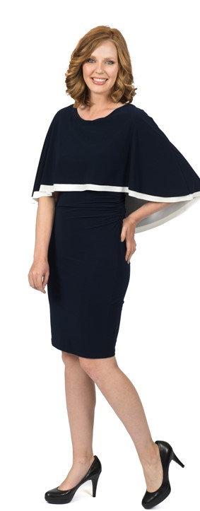 Black and Ivory cape back dress 5605