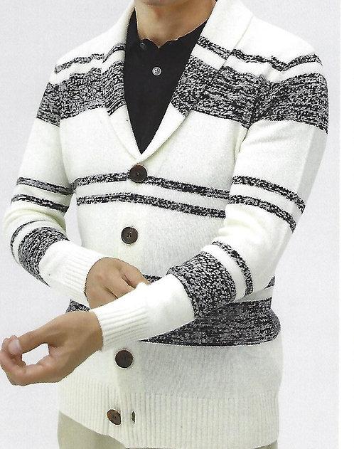 100% Mercerized Merino Wool Strips Heavy Shawl Jacket