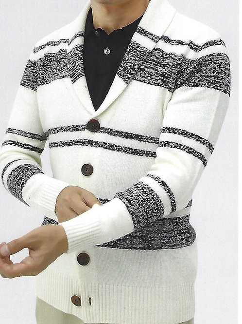 100% Cashmere 7 Gauge  Strips Heavy Shawl Jacket
