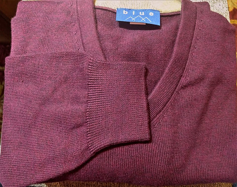 Maroon V-Neck Pima Cotton  Sweater from Blue*