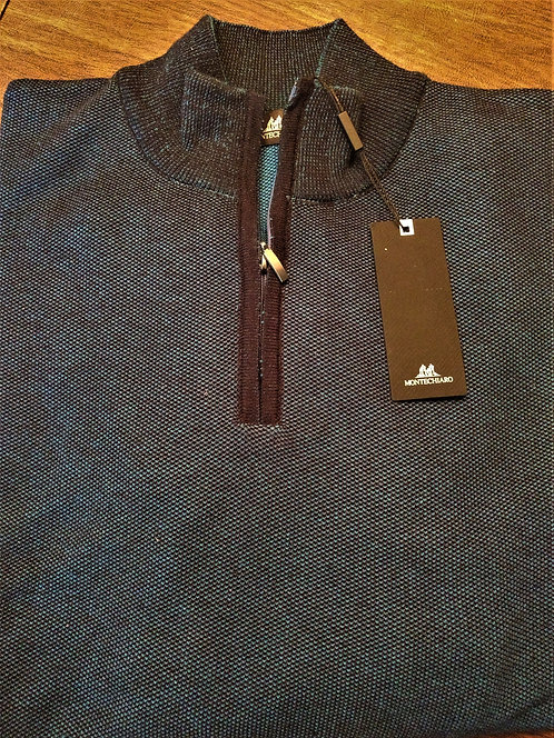 Black and Teal Birdseye 1/4 ZIp Sweater